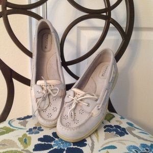 Cute gray Sperrys with flower cutout design